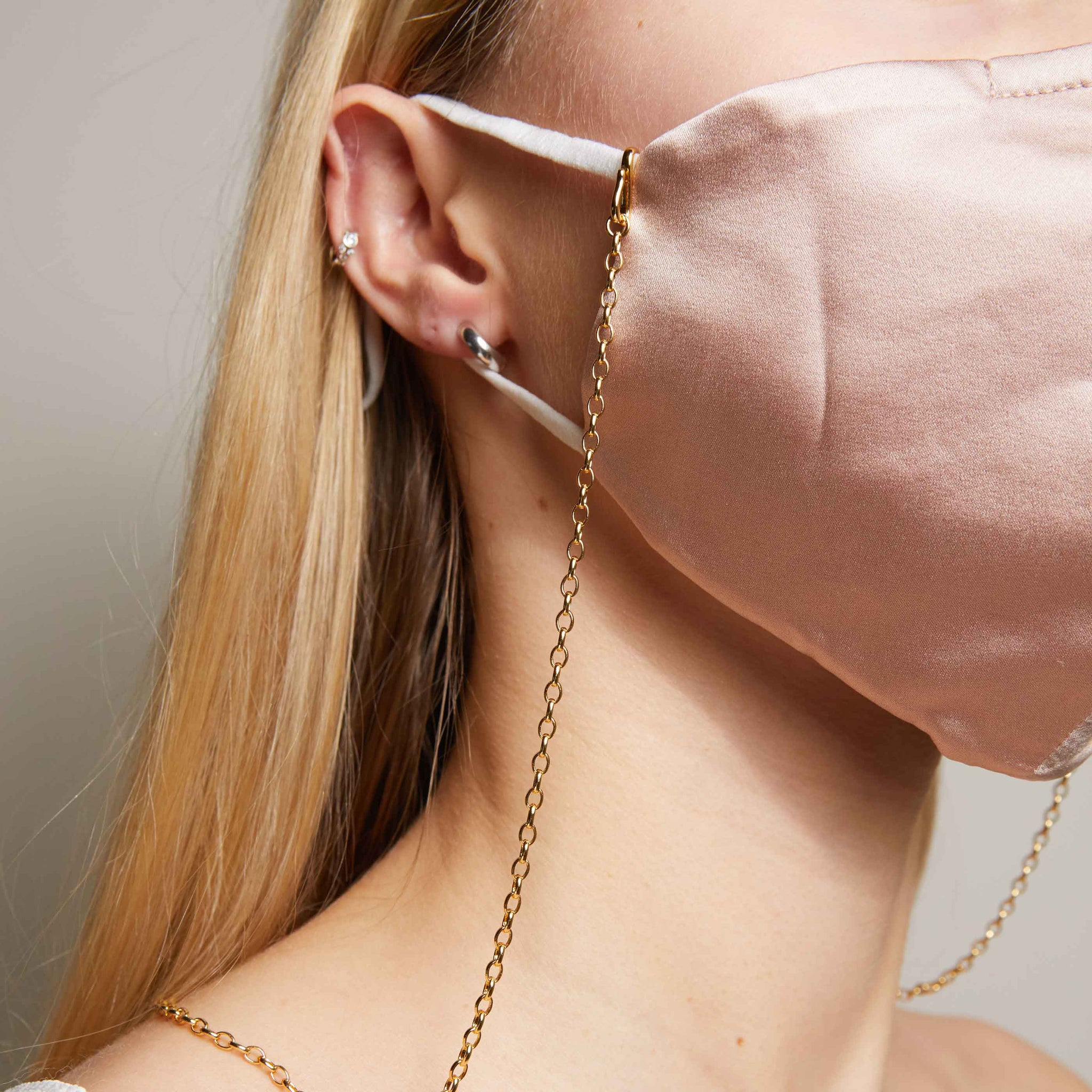 Pink Silk Face Mask & Chain in Rose Gold