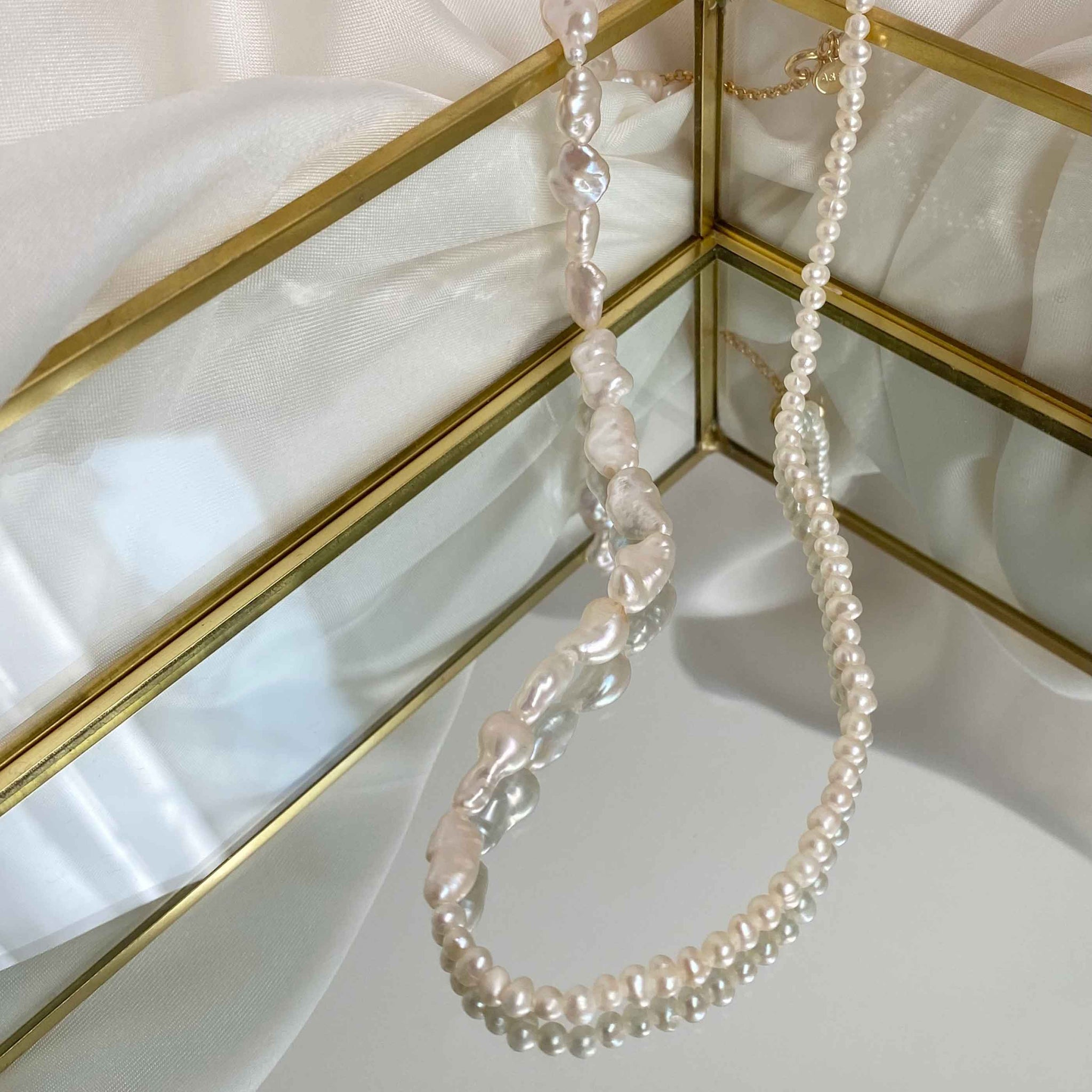 Serenity Pearl Necklace in Gold