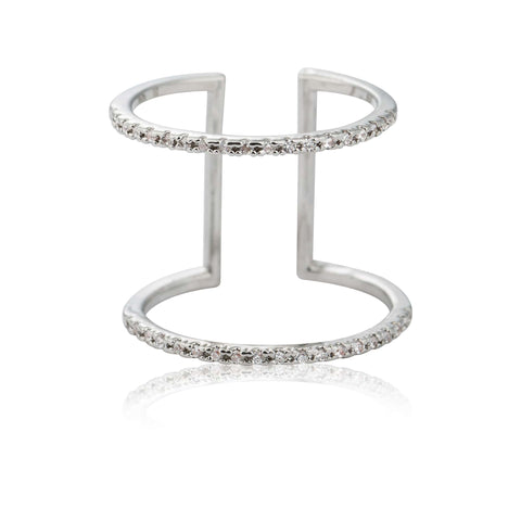 silver double bar cocktail ring