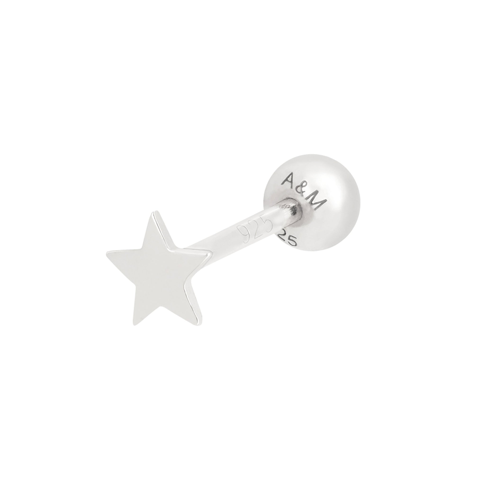 Simple Star Barbell in Silver
