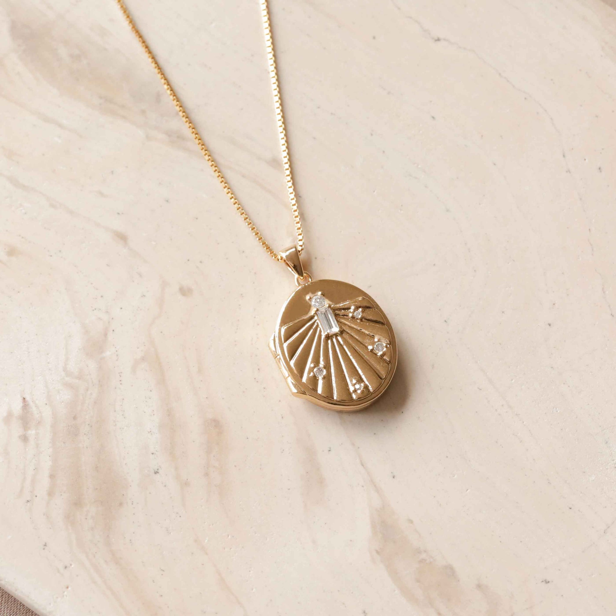 Solstice Locket Pendant Necklace in Gold