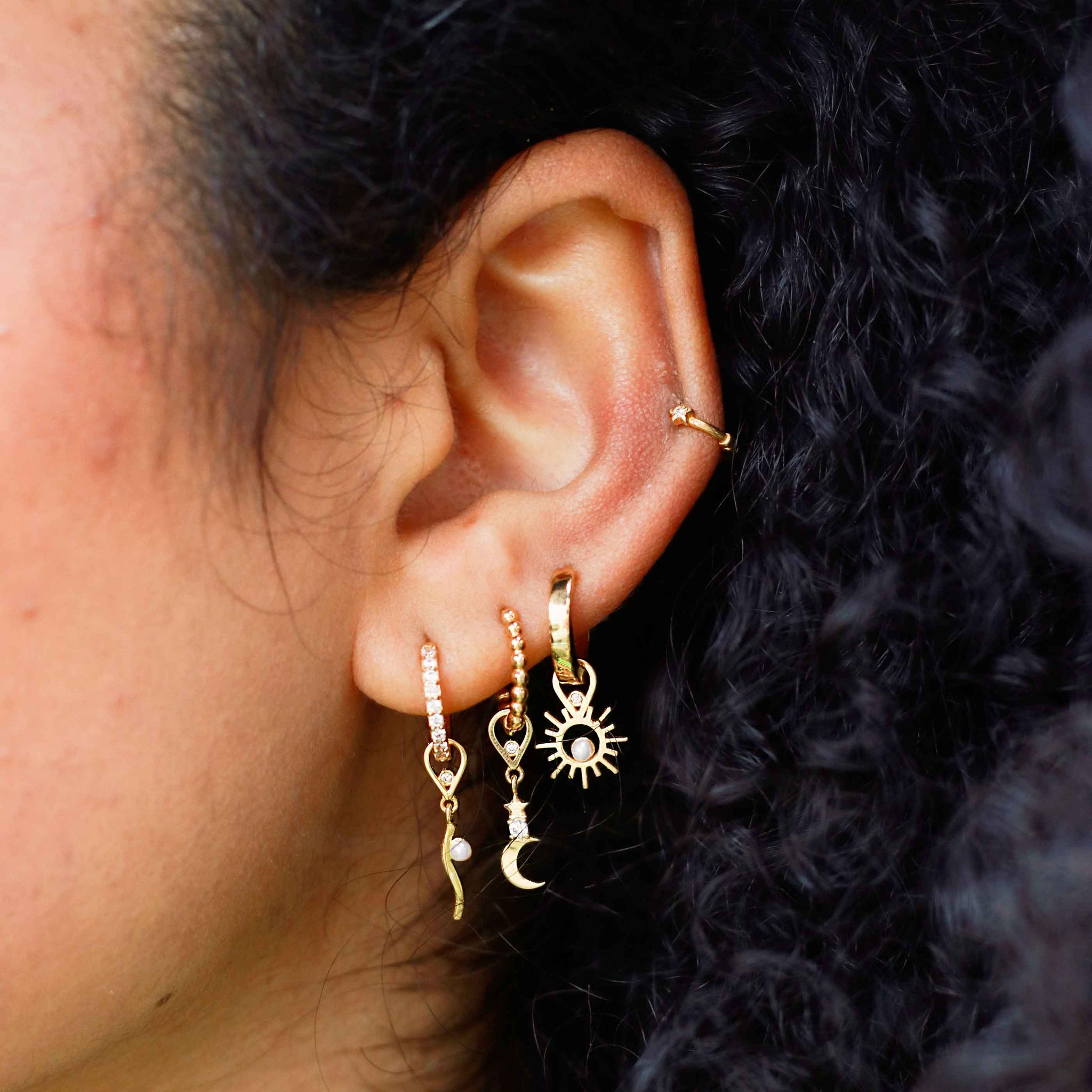Star & Moon Earring Charm in Gold worn with beaded base hoop