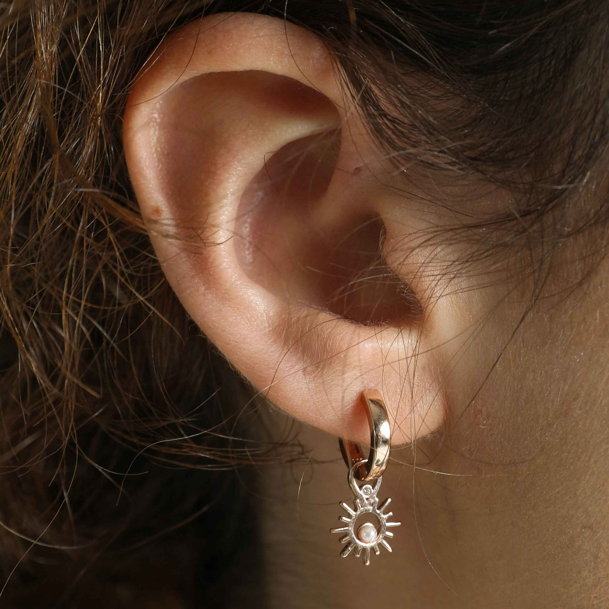 Sun & Pearl Earring Charm in Rose Gold worn on square edge hoop