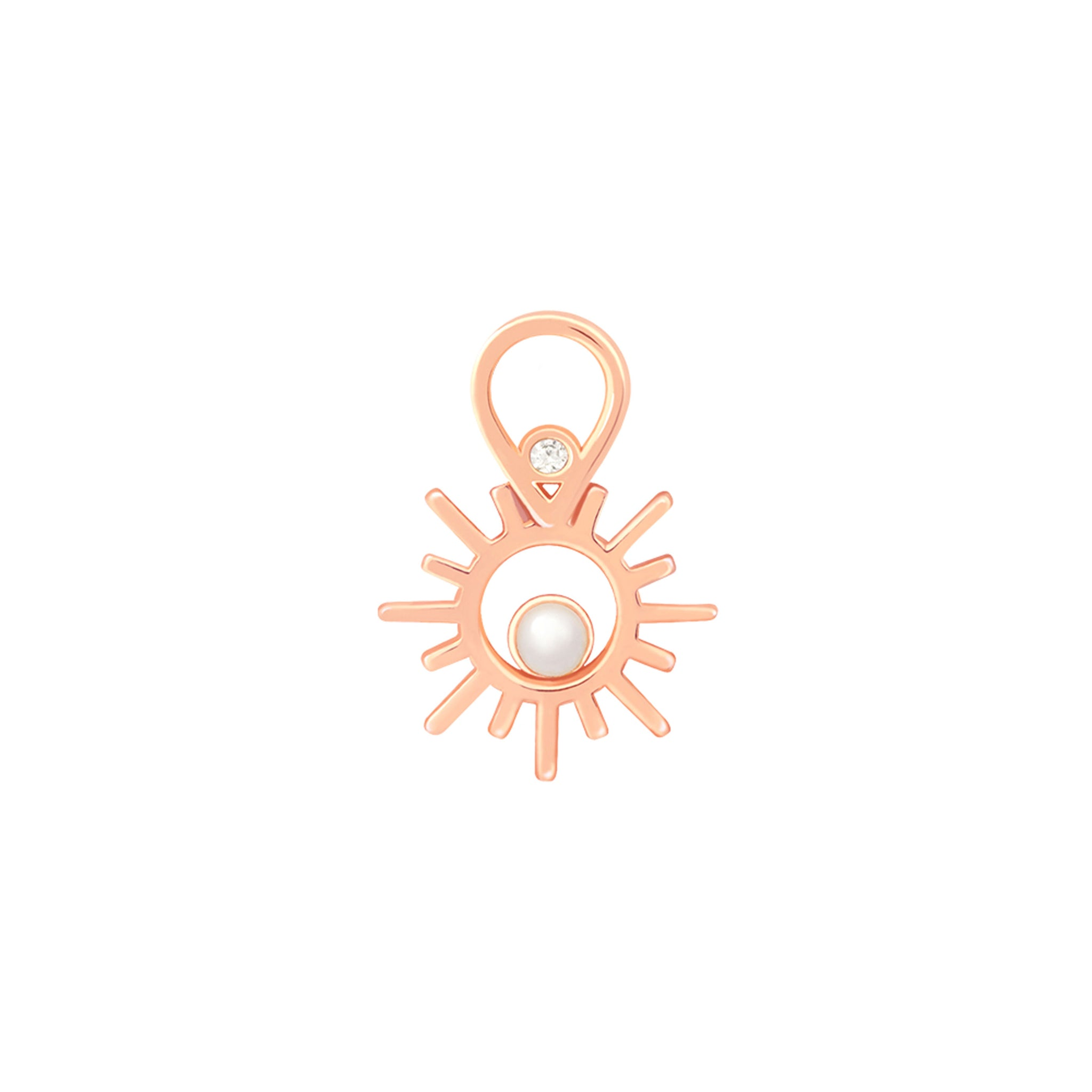 Sun & Pearl Earring Charm in Rose Gold