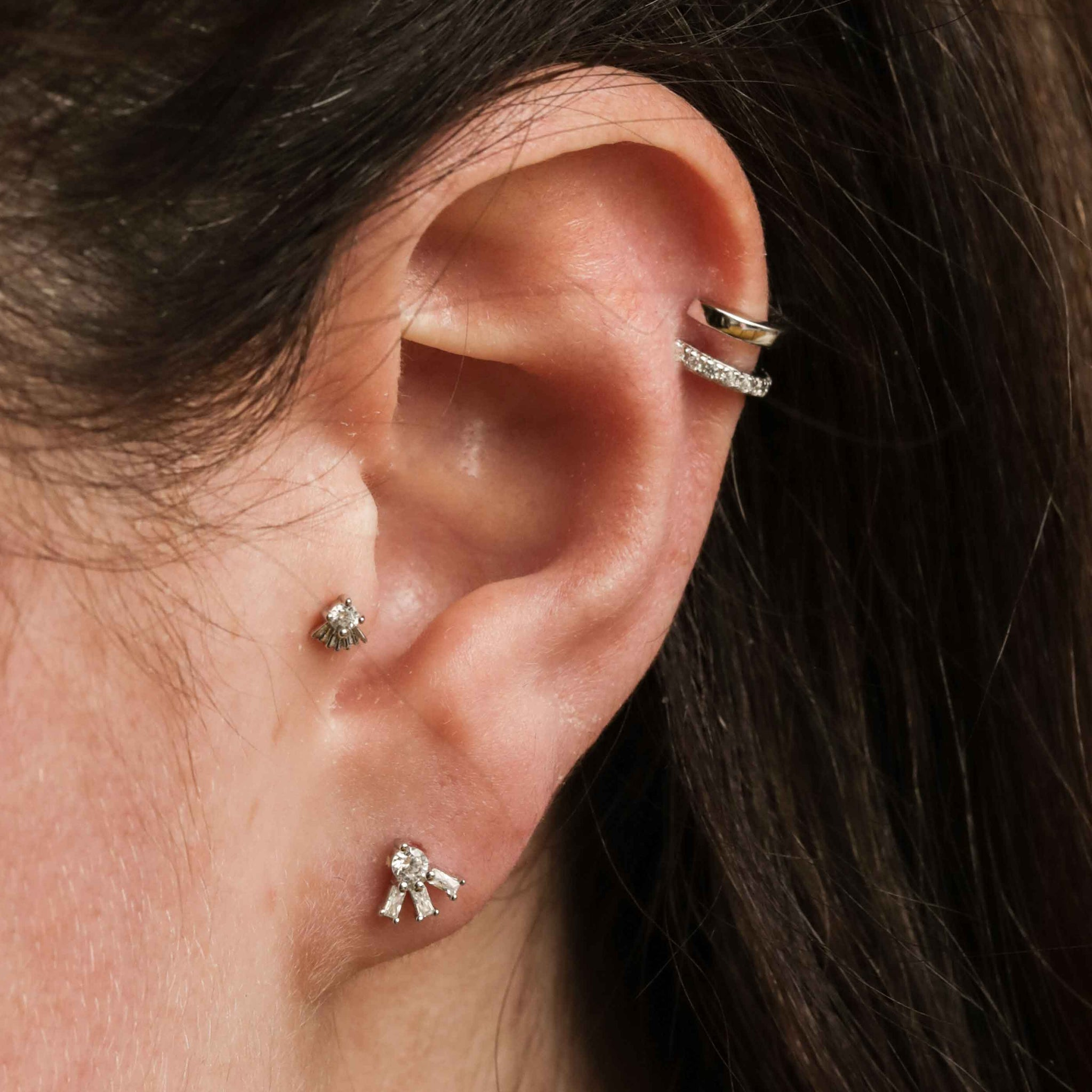 Mini Illusion Crystal Ear Cuff in Silver