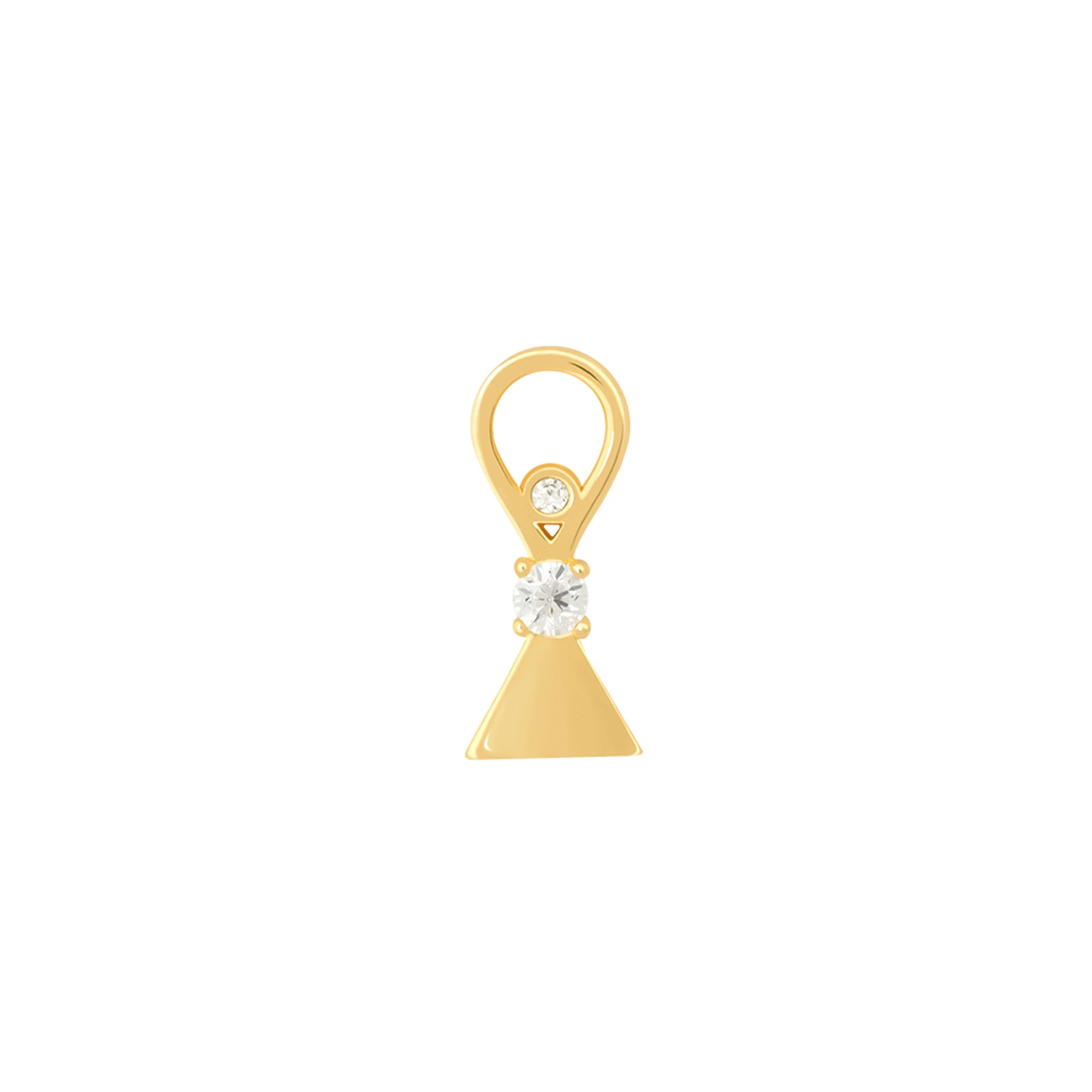 Triangle & Stones Earring Charm in Gold