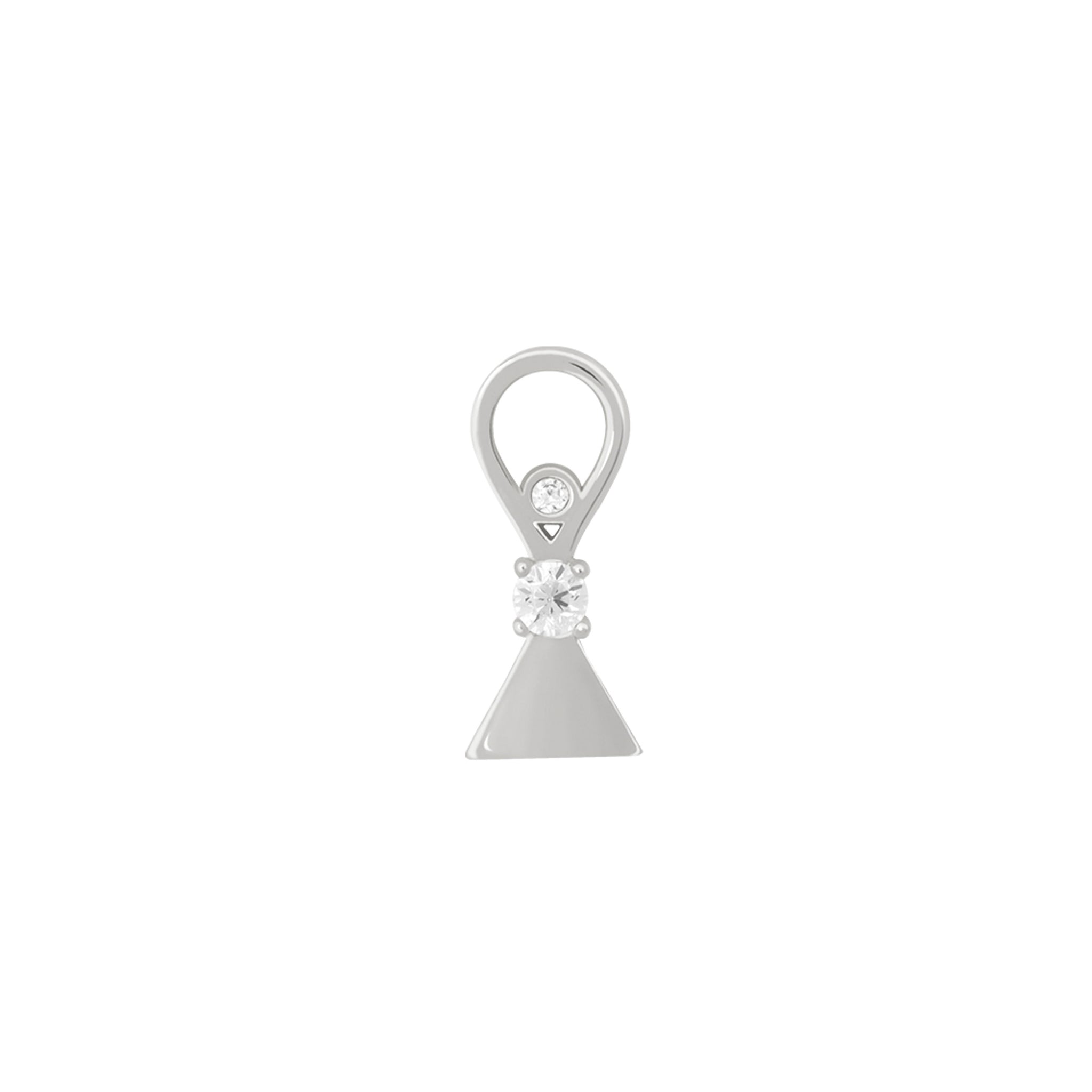 Triangle & Stones Earring Charm in Silver