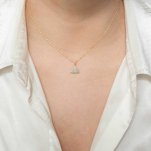 Triangle & Enamel Necklace Charm in Gold