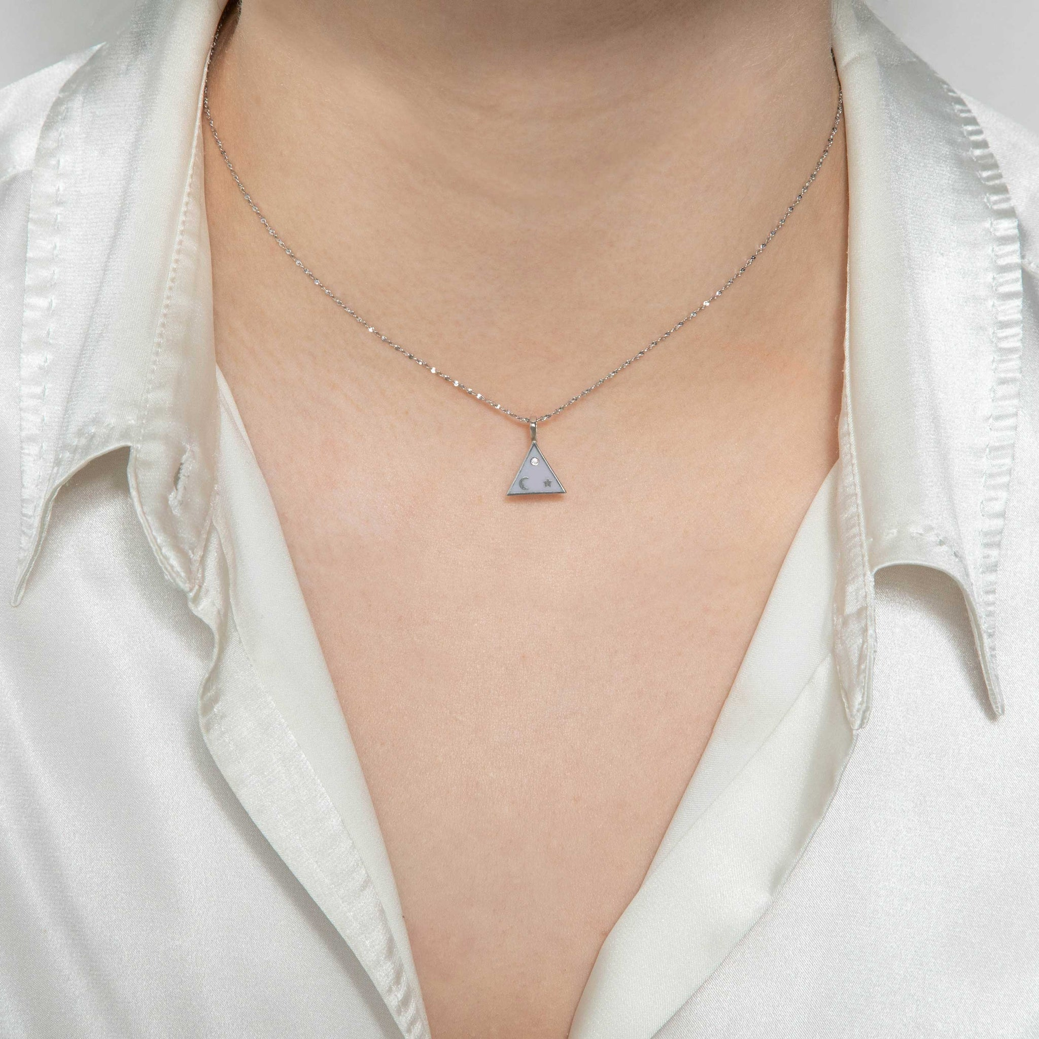 Triangle & Enamel Necklace Charm in Silver