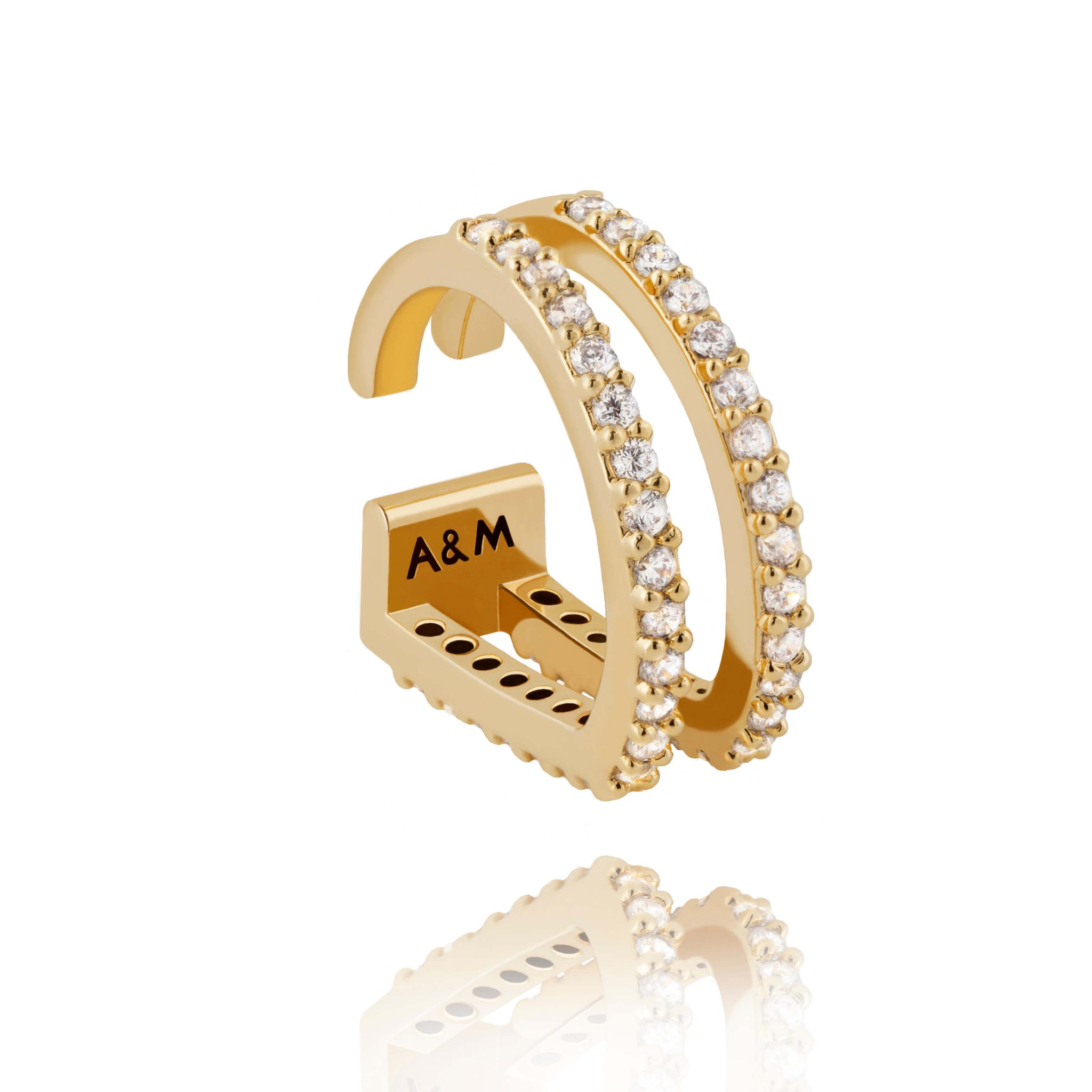 18k gold plated brass, diamanté encrusted ear cuff with two curved bars  Edit alt text