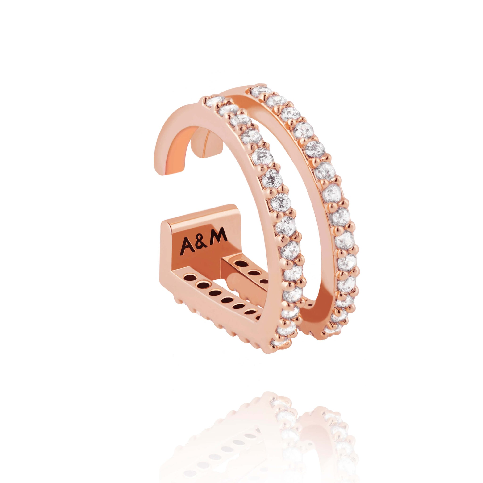 14k rose gold plated brass, diamanté encrusted ear cuff with two curved bars  Edit alt text
