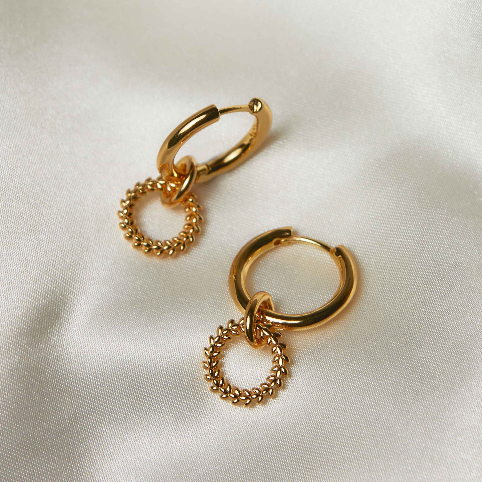 Wreath Charm Hoops in Gold