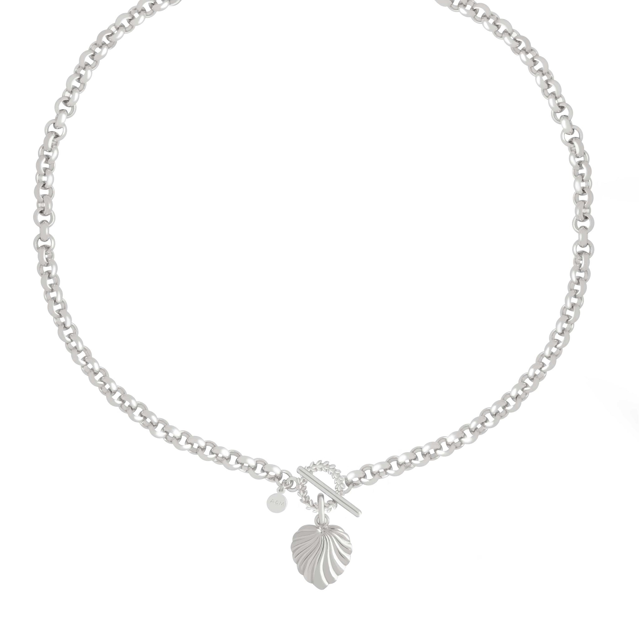 Wreath T-Bar Chunky Necklace in Silver