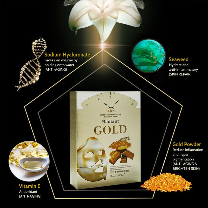 24k Gold Revitalising Radiant Silk face Mask I Vitamin E and Seaweed infused