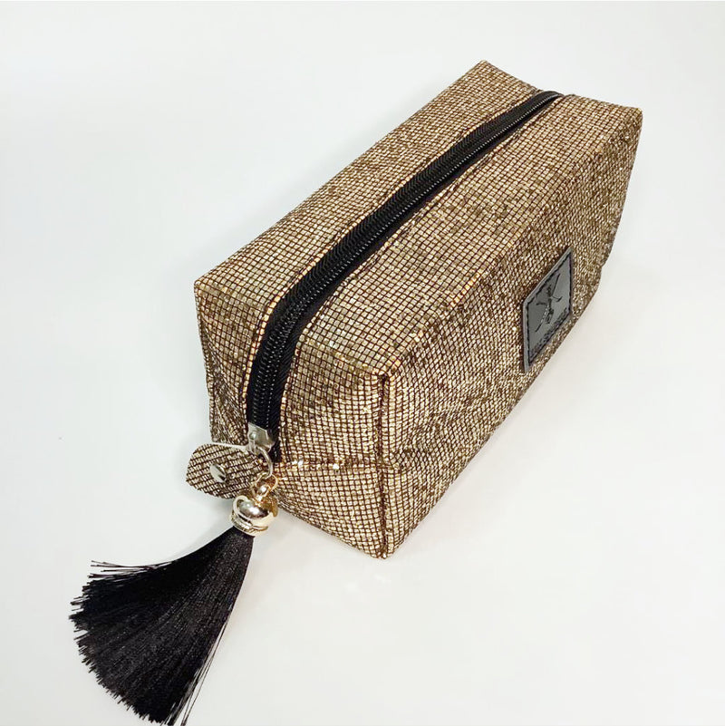 glitter cosmetic pouch with tassel sequins | glitter vanity party makeup bag