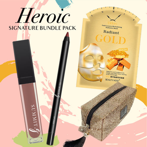 Makeup cosmetic gift pack Collection for her lipstick lip liner 24k gold face mask cosmetic pouch