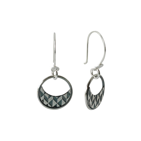 Half Moon Earrings in Etched and Oxidized Sterling Silver