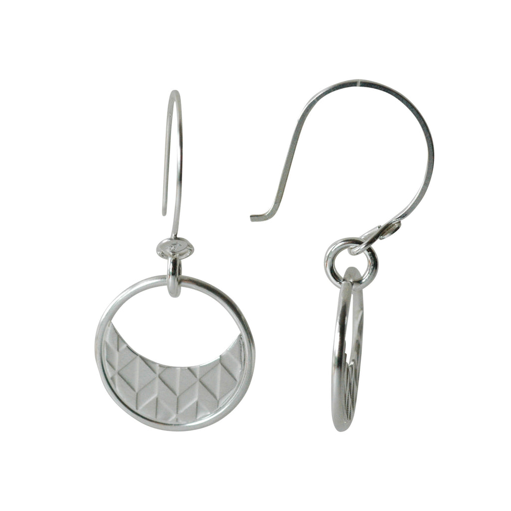 Half Moon Earrings in Etched Sterling Silver