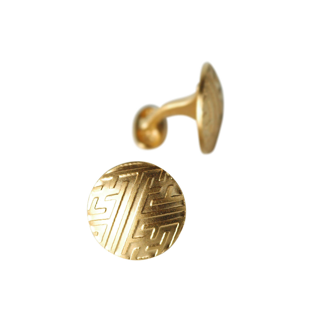 Moon Button Cuff Links in Etched 24K Yellow Gold Vermeil