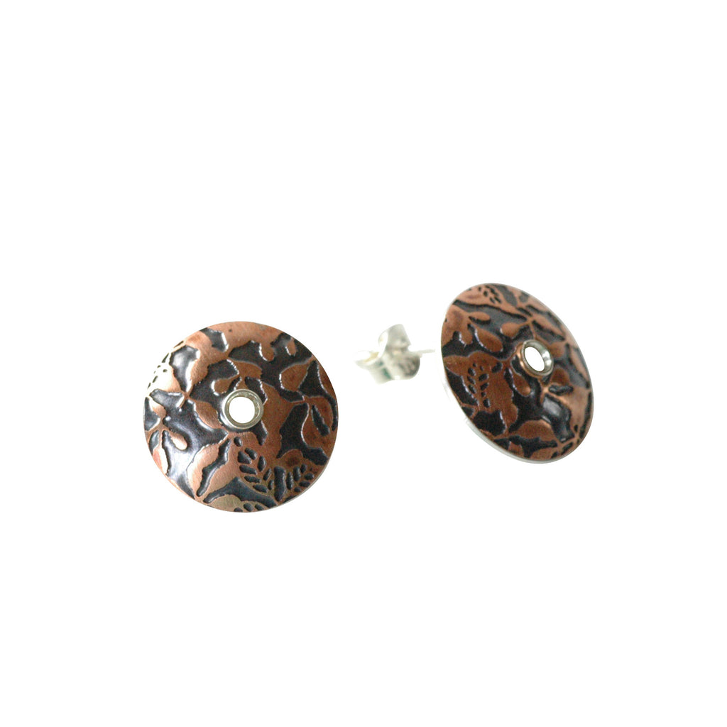 Moon Button Earrings in Etched and Oxidized Copper