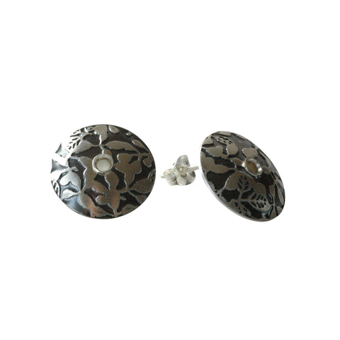Moon Button Earrings in Etched and Oxidized Sterling Silver