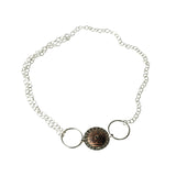 Moon Button Necklace (or Bracelet) in Etched and Oxidized Copper