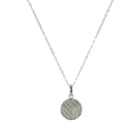 Token Charm Necklace in Etched Sterling Silver