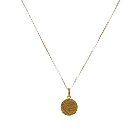 Token Charm Necklace in Etched Yellow 24K Gold Vermeil