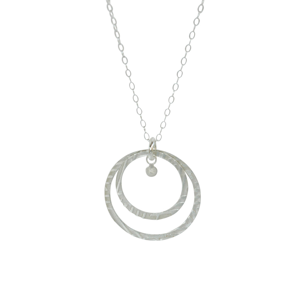 Trinket Charm Necklace in Etched Sterling Silver
