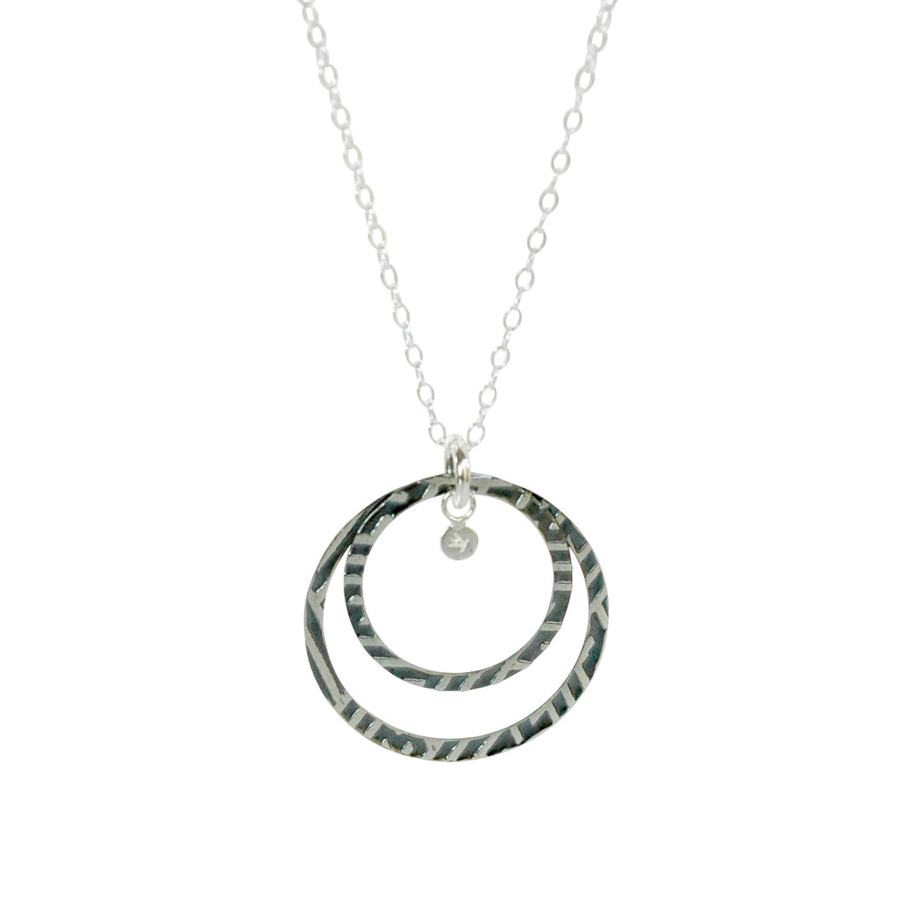Trinket Charm Necklace in Etched and Oxidized Sterling Silver