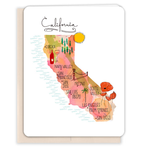 California-Map-Blank-Card