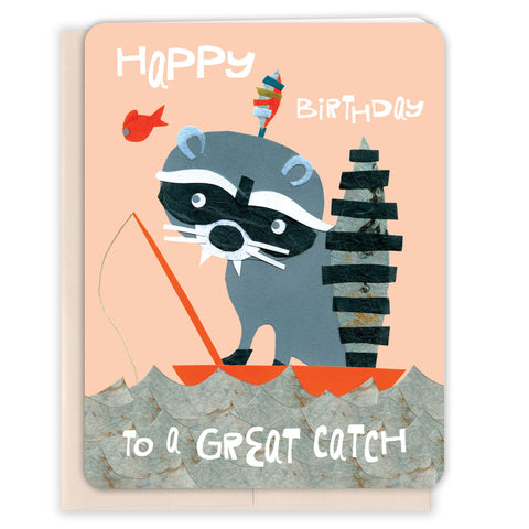 Raccoon-Catch-Birthday-Card