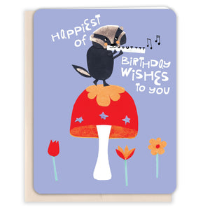 Flute-Badger-Birthday-Card