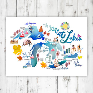 The Great Lakes Map Print