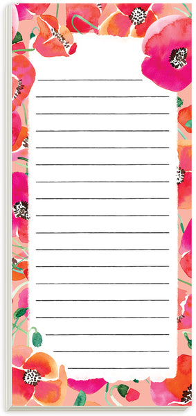 Watercolor Poppies Magnetic List Pad