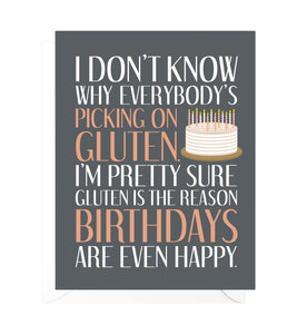 Gluten Funny Birthday Card