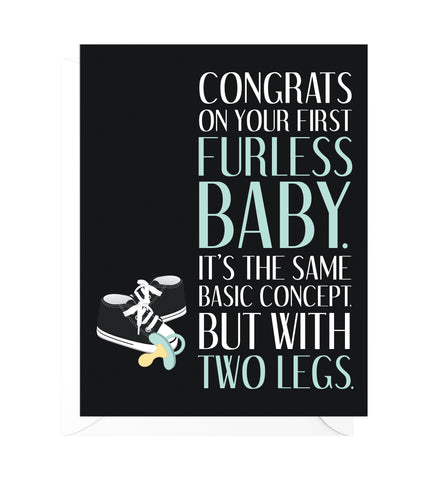 Furless Baby Funny New Baby Card