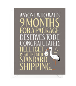 Standard Shipping Funny New Baby Card