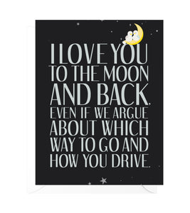 To the Moon and Back Funny Love Card