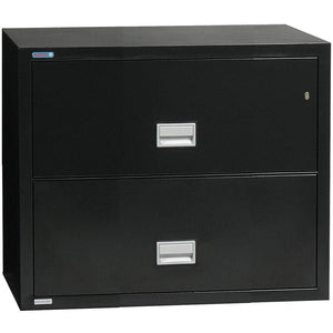 Phoenix Safe International Black Phoenix LAT2W31 Lateral 31 inch 2-Drawer Fireproof File Cabinet LAT2W31B