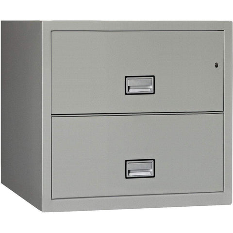 Phoenix Safe International Light Grey Phoenix LAT2W31 Lateral 31 inch 2-Drawer Fireproof File Cabinet LAT2W31LG