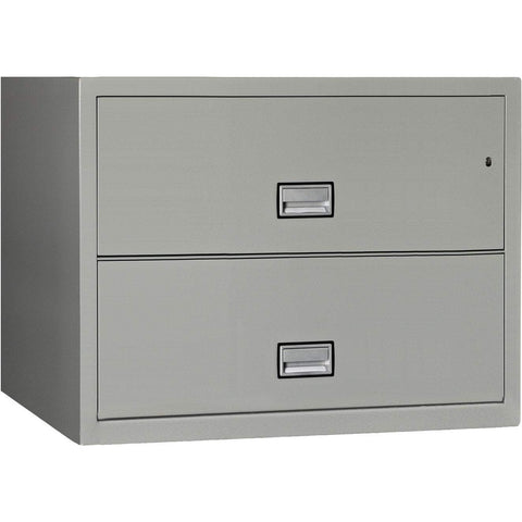 Phoenix Safe International Light Grey Phoenix LAT2W38 Lateral 38 inch 2-Drawer Fireproof File Cabinet LAT2W38LG