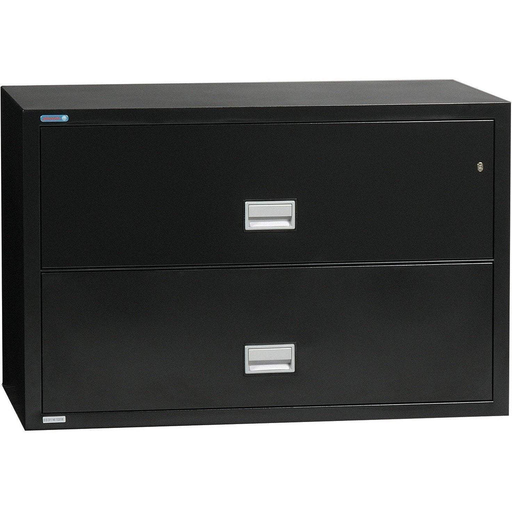 Phoenix Safe International Black Phoenix LAT2W44 Lateral 44 inch 2-Drawer Fireproof File Cabinet LAT2W44B