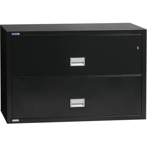 Image of Phoenix Safe International Black Phoenix LAT2W44 Lateral 44 inch 2-Drawer Fireproof File Cabinet LAT2W44B