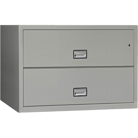 Image of Phoenix Safe International Light Grey Phoenix LAT2W44 Lateral 44 inch 2-Drawer Fireproof File Cabinet LAT2W44LG