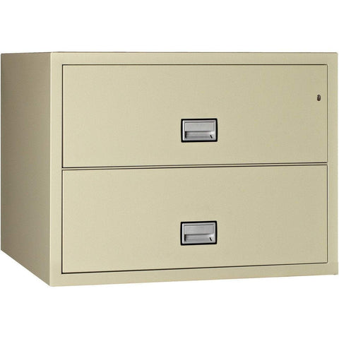 Image of Phoenix Safe International Putty Phoenix LAT2W44 Lateral 44 inch 2-Drawer Fireproof File Cabinet LAT2W44P