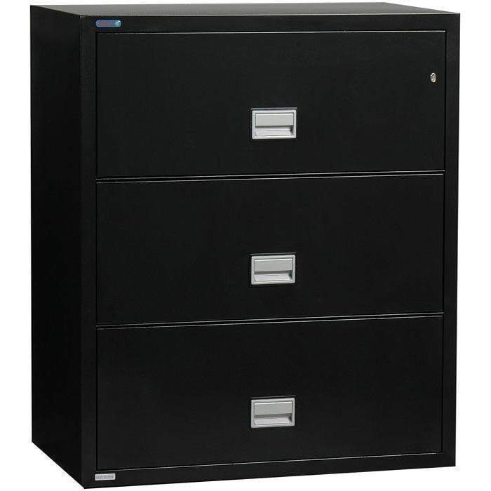 Phoenix Safe International Black Phoenix LAT3W31 Lateral 31 inch 3-Drawer Fireproof File Cabinet LAT3W31B