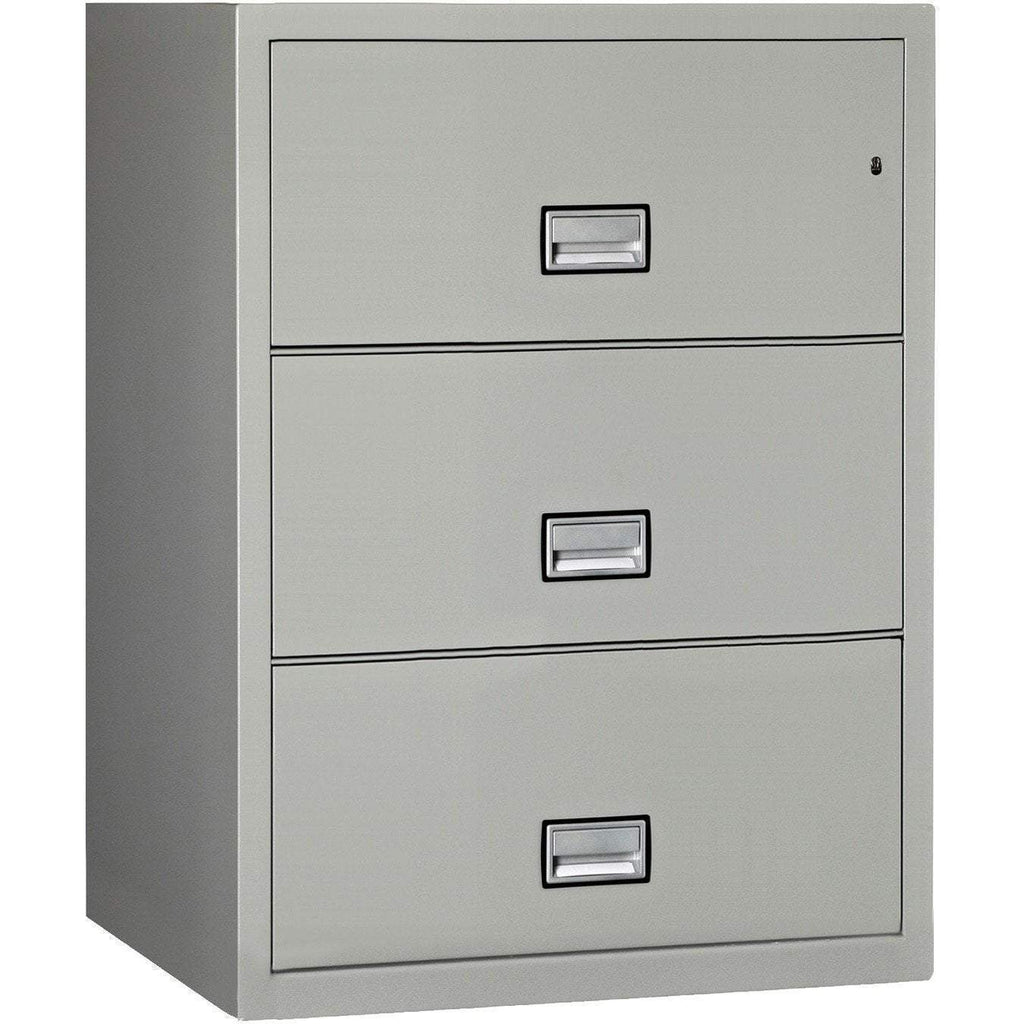 Phoenix Safe International Light Grey Phoenix LAT3W31 Lateral 31 inch 3-Drawer Fireproof File Cabinet LAT3W31LG