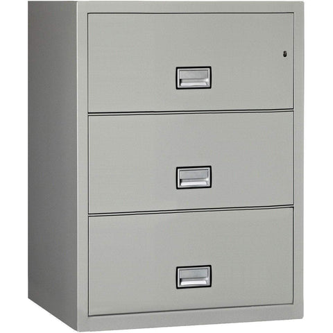 Image of Phoenix Safe International Light Grey Phoenix LAT3W31 Lateral 31 inch 3-Drawer Fireproof File Cabinet LAT3W31LG