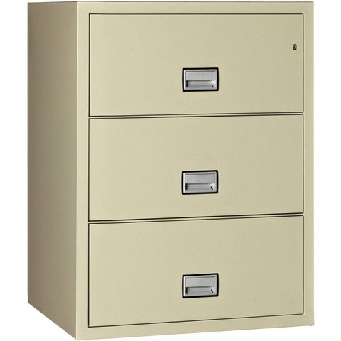 Image of Phoenix Safe International Putty Phoenix LAT3W31 Lateral 31 inch 3-Drawer Fireproof File Cabinet LAT3W31P